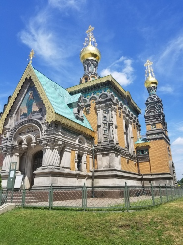 Tsar Nicholas II had this chapel built in Darmstadt, the foundation imported from Russia, so that when he was there to visit his Princess he could still worship on Russian ground