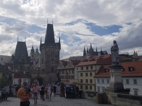 Walking west across the Charles Bridge
