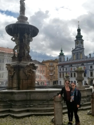 Samson Fountain and Town Hall, C. Budejovice