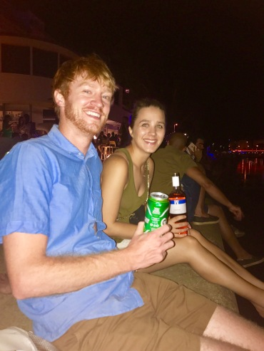 Caleb and Susi drinking on the Danube Canal on our last night in Vienna