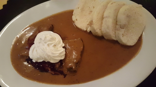 Roasted pork in cream sauce with whipped cream and cranberries with dumplings, Eggenberg Brewery, Cesky Krumlov