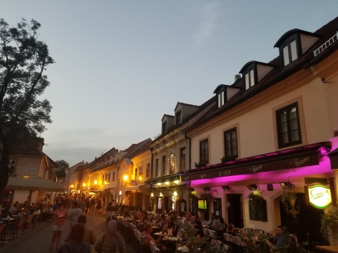 One of the main old town streets filled with restaurants and bars