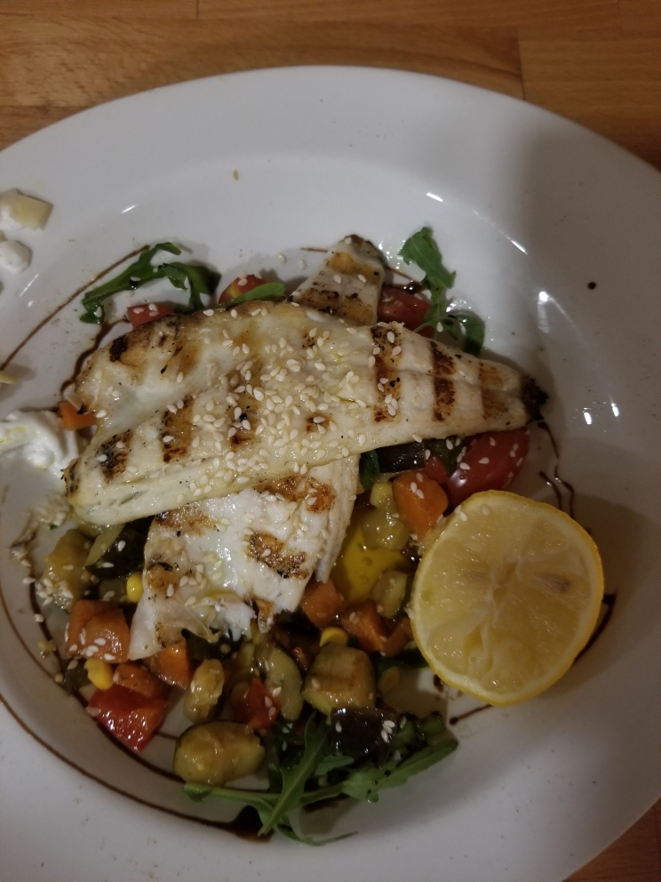 Caleb's sea bass filets with a vegetable salad from Dir