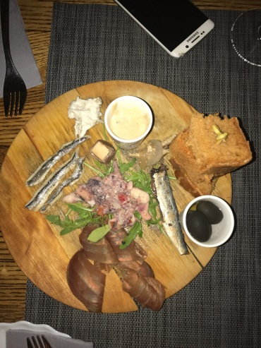 Seafood appetizer with sardines, smoked tuna, fish pate and more