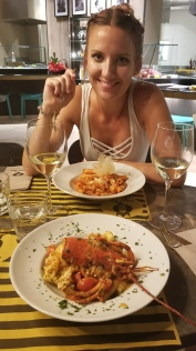 Queen Bee....Caleb's lobster paccheri and Abby's amatriciana.